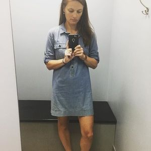 J.CREW Size M Denim Shirt Roll Sleeve Dress